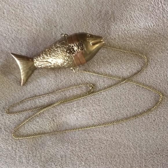 Vintage Handbags - Vintage Rare Brass Fish Purse